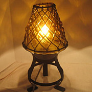 Vintage Mid 20th Century Lamp Glass & Metal