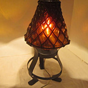 Vintage Mid-20th Century Lamp Glass & Metal