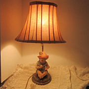 Vintage Lamp with Bisque Boy with Apple