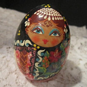 Vintage Russian Egg with Hand Painted Girl with Shawl