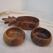 Vintage Hawaiian Wood Serving bowl with 2 smaller bowls
