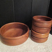 Vintage Wood Salad Serving Bowl with 4 smaller bowls