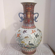 Vintage Chinese Hand Painted Large Vase with Ducks
