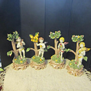 Vintage Set of Four Capodimonte Cherubs Celebrating The Four Seasons