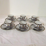 Vintage Porcelain Hand-Painted Demi-tasse Tea Set with Gold Highlights on Village Scene, Geish