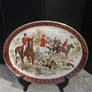 Vintage Porcelain Weatherby Hunters, Horses and Dogs Serving Platter