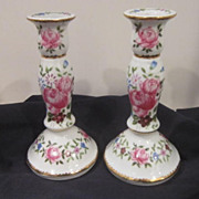 Vintage Pair of Porcelain Hand Painted Candle Holders with Flowers
