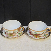 Vintage Pair of Cup and Saucer with Dragon and Phoenix