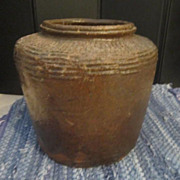 Vintage Primitive Style Heavy Brown Pot
