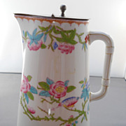 "Unusual Antique Minton ""Cuckoo"" Jug and Metal Lid. early 1900's"
