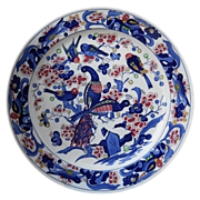 "SALE Portuguese red and blue bird and tree design pottery charger, c. 1970-80""s"