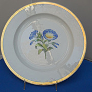 Beautiful Meissen plate with blue flowers and gold rim, c. 1830