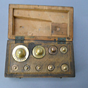 Antique English Miniature box of Nine Weights, circa 19th C.