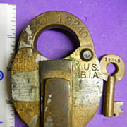 Key & Lock brass  United States BUREAU OF INDIAN AFFAIRS bia heart shaped lock with hollow ...