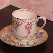 Beautiful Demi-Tasse Cup and Saucer - Dresden Germany