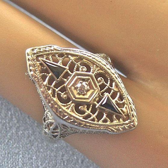 14k white gold filigree rings