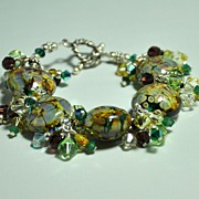 AUTUMN  Lampwork and Swarovski Dangler Bracelet