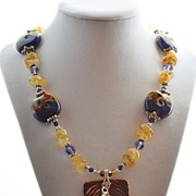 CItrine Nugget and Purple Lampwork Bead Necklace with Ceramic Pendant