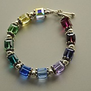 Swarovski Rainbow Cube and .925 Sterling Silver Bracelet.