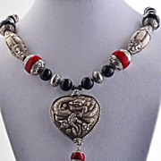 Onyx and Tibetan Bead Necklace with Dragon Pendant