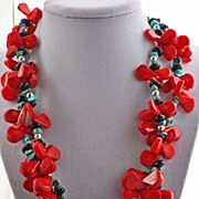 Red Coral, Stabilized Turquoise and Sterling SIlver Necklace