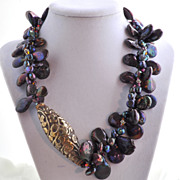 Peacock Coin Pearl Necklace with Tibetan Repousse Focal Bead