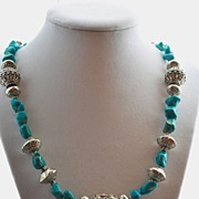 Stabilized Turquoise and .925 Bali Sterling Silver Necklace