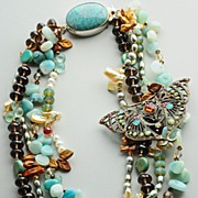 Four Strand Multi Gem Necklace with Vintage Pin Pendant