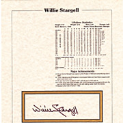 HOF Willie Stargell Authentic Signed Autograph Stat Sheet With Notary Seal