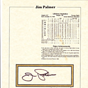 HOF Jim Palmer Authentic Signed Autograph Stat Sheet With Notary Seal