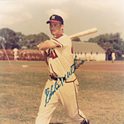 HOF Eddie Mathews Authentic Signed Autograph on a 8x10 Glossy Color Photo