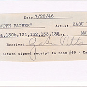 ZaSu Pitts Vintage Signed Autograph Movie Cast Sign Up Sheet Cut