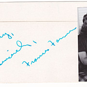 Frances Farmer Signed Autograph 3x5 Index Card With 1x3 Glossy Photo ! Scarce