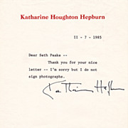 Katharine Hepburn Authentic Vintage Signature on Personal Stationary