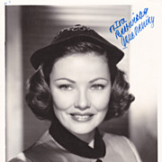 Gene Tierney Original Vintage Signed Autograph Black & White Glossy Photo