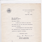 Arthur Wallander Vintage 1940s TLS on NYC Personal Letterhead - Police Commissioner
