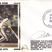 Pete Rose Authentic Signed Autograph 1981 First Day Cover - 3630 Hits