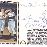HOFers Mickey Mantle - Willie Mays - Duke Snider Signed Autograph FDC