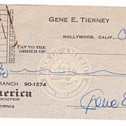 Gene Tierney Check and TLS (Secretary) For Repayment of a Loan Oct. 1941