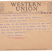 Gloria Swanson 1941 Western Union Telegram To Harry Evans