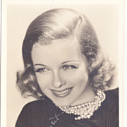 Joan Bennett Original 1930s Vintage Signed Autograph Photo