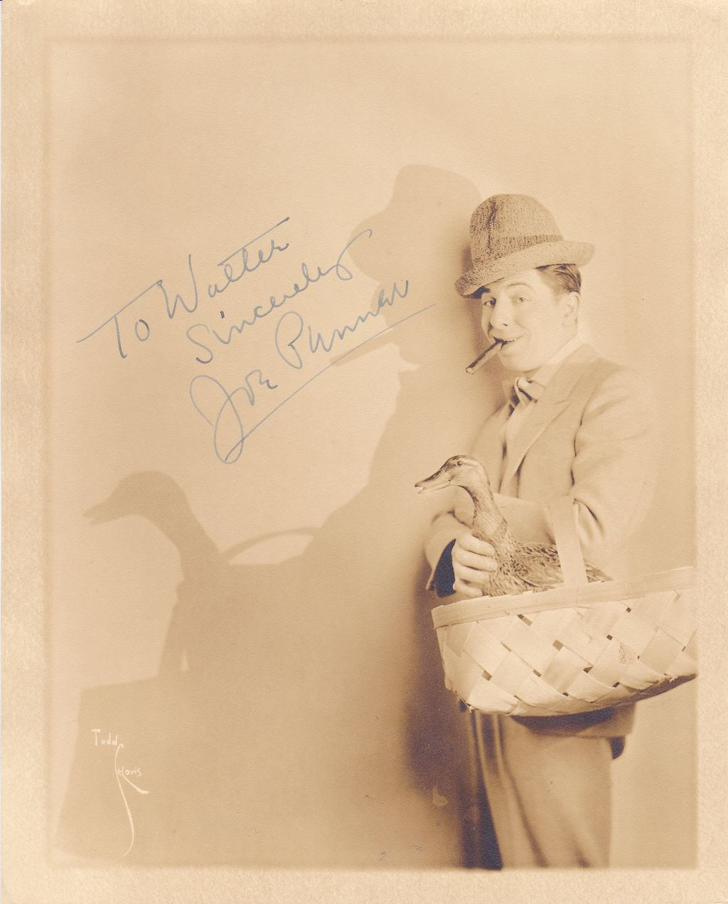 Joe Penner Authentic Vintage 1934 Signed Autograph Photo