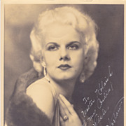 "Jean Harlow Authentic Vintage 1931 ""Mama Harlow"" Signed Autograph Photo"