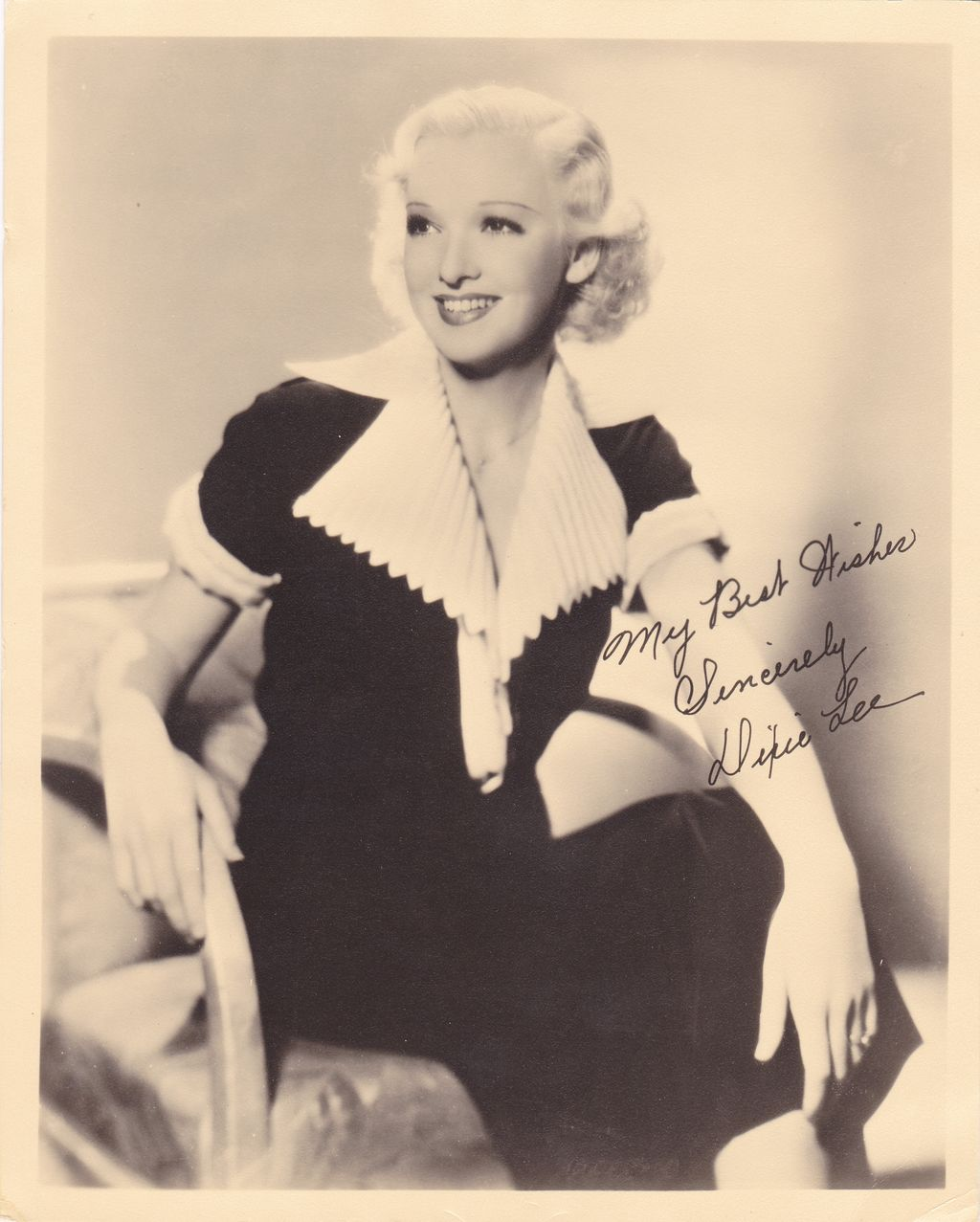 Dixie Lee Vintage 1930s Printed Autograph Photo