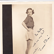 Sunnie O'Dea Authentic Vintage 1935 Signed Autograph De Mirjian Studio Photo