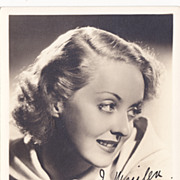 Bette Davis Authentic Vintage 1930s Signed Autograph Photo