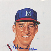 HOF Warren Spahn Authentic Signed Autograph On A 1989 Ron Lewis Print