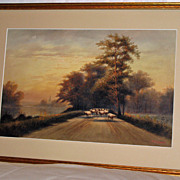Sheep on an English Road by Philip Brown Parsons Signed lower right side