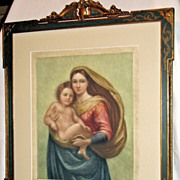 Sistine Madonna (after Raphael) a Mezzo-tint by Steveson; Signed & Dated 1915