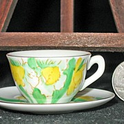 Miniature Hand Painted China Cup & Saucer; March Daffodils